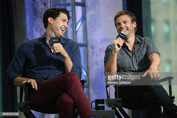 Actors Tug Coker and Tommy Dewey speak at The Build Series Presents Tug Tanner And Tommy Arondall Discussing The Series 'Tug And Tommy' at AOL HQ on...
