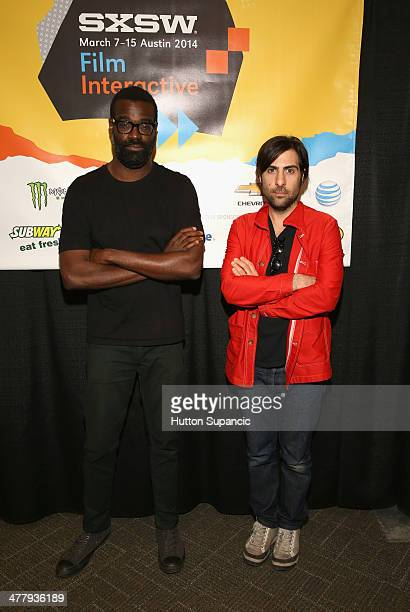 Actors Tunde Adebimpe and Jason Schwartzman attend 'In The Lion's Den With Schwartzman Adebimpe And Byington' Greenroom Photo Op And QA during the...