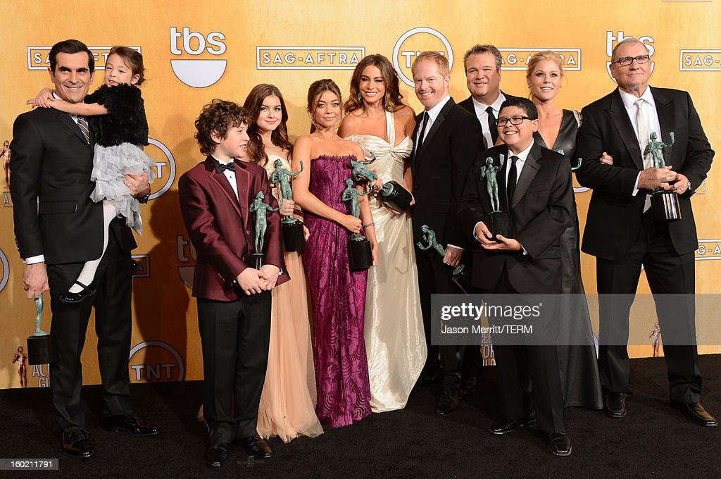 Actors Ty Burrell, Aubrey Anderson-Emmons, Nolan Gould, Ariel Winter, Sarah Hyland, Sofia Vergara, Jesse Tyler Ferguson, Eric Stonestreet, Rico Rodriguez, Julie Bowen and Ed O'Neill attend the 19th Annual Screen Actors Guild Awards at The Shrine Auditorium on January 27, 2013 in Los Angeles, California. (Photo by Jason Merritt/WireImage) 23116_014_3118.jpg