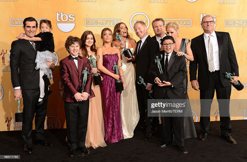 Actors Ty Burrell, Aubrey Anderson-Emmons, Nolan Gould, Ariel Winter, Sarah Hyland, Sofia Vergara, Jesse Tyler Ferguson, Eric Stonestreet, Rico Rodriguez, Julie Bowen and Ed O'Neill attend the 19th Annual Screen Actors Guild Awards at The Shrine Auditorium on January 27, 2013 in Los Angeles, California. (Photo by Jason Merritt/WireImage) 23116_014_3121.jpg