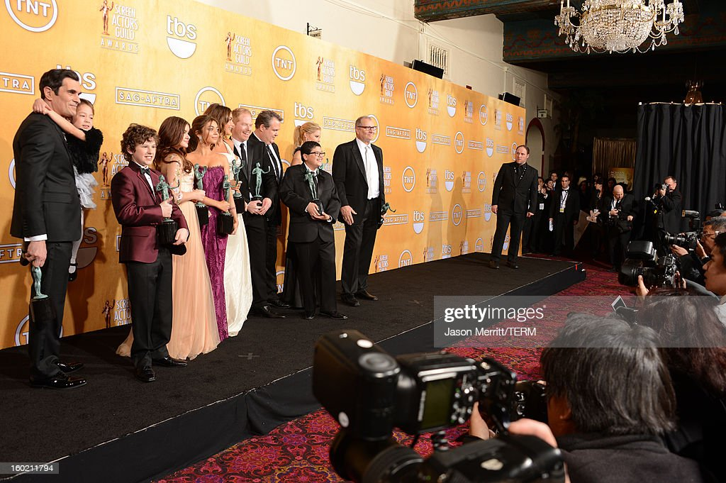 Actors Ty Burrell, Aubrey Anderson-Emmons, Nolan Gould, Ariel Winter, Sarah Hyland, Sofia Vergara, Jesse Tyler Ferguson, Eric Stonestreet, Rico Rodriguez, Julie Bowen and Ed O'Neill attend the 19th Annual Screen Actors Guild Awards at The Shrine Auditorium on January 27, 2013 in Los Angeles, California. (Photo by Jason Merritt/WireImage) 23116_014_3145.jpg