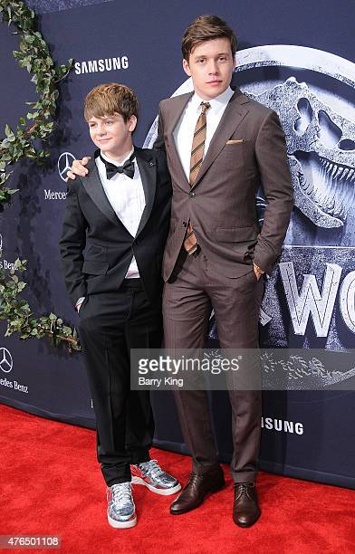 Actors Ty Simpkins and Nick Robinson arrive at Universal Pictures World Premiere of 'Jurassic World' at Dolby Theatre on June 9 2015 in Hollywood...