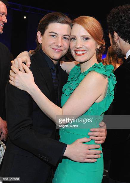 Actors Tye Sheridan and Jessica Chastain with Napa Valley Vintners And Sapporo during the 19th Annual Critics' Choice Movie Awards at Barker Hangar...