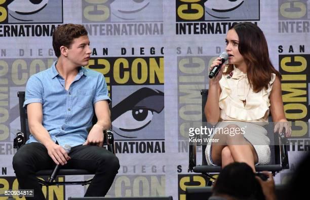 Actors Tye Sheridan and Olivia Cooke attend the Warner Bros Pictures Presentation during ComicCon International 2017 at San Diego Convention Center...