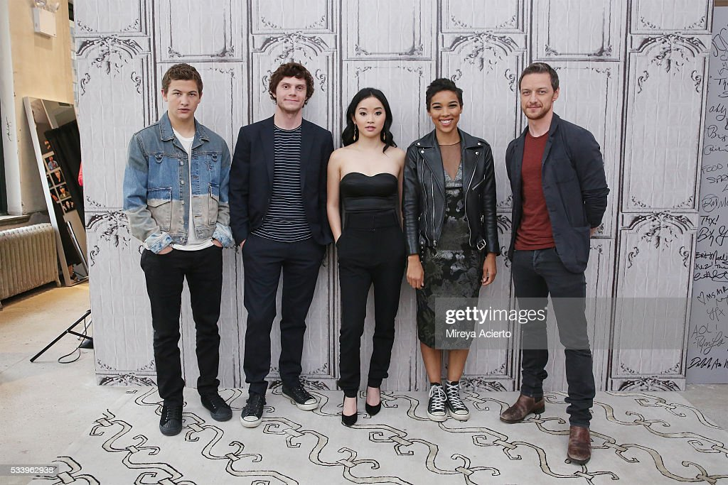 Actors <a gi-track='captionPersonalityLinkClicked' href=/galleries/search?phrase=Tye+Sheridan&family=editorial&specificpeople=7807719 ng-click='$event.stopPropagation()'>Tye Sheridan</a>, <a gi-track='captionPersonalityLinkClicked' href=/galleries/search?phrase=Evan+Peters&family=editorial&specificpeople=2301160 ng-click='$event.stopPropagation()'>Evan Peters</a>, <a gi-track='captionPersonalityLinkClicked' href=/galleries/search?phrase=Lana+Condor&family=editorial&specificpeople=14229196 ng-click='$event.stopPropagation()'>Lana Condor</a>, <a gi-track='captionPersonalityLinkClicked' href=/galleries/search?phrase=Alexandra+Shipp&family=editorial&specificpeople=10012876 ng-click='$event.stopPropagation()'>Alexandra Shipp</a> and <a gi-track='captionPersonalityLinkClicked' href=/galleries/search?phrase=James+McAvoy&family=editorial&specificpeople=647005 ng-click='$event.stopPropagation()'>James McAvoy</a> from the movie, 'X-Men: Apocalypse' visit AOL Studios in New York on May 24, 2016 in New York City.