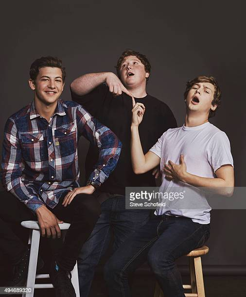 Actors Tye Sheridan Joey Morgan and Logan Miller of 'Scouts Guide to the Zombie Apocalypse' for Wonderwall on September 14 2015 in Los Angeles...