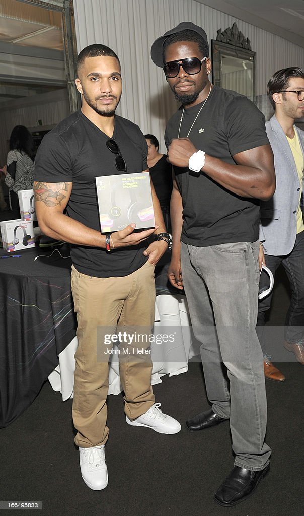 Actors Tyler Lepley and Bad Boy Roy attend the Flips Audio MTV Awards Secret Room gifting suite at the SLS Hotel on April 12, 2013 in Beverly Hills, California.