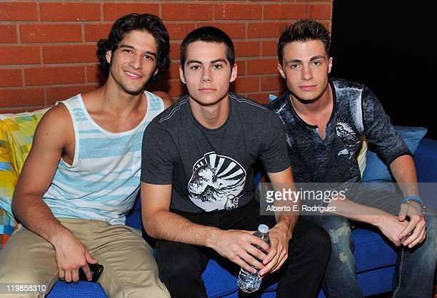 Actors Tyler Posey Dylan O'Brien and Colton Haynes attend a live chat at Cambio Studios on July 25 2011 in Hollywood California