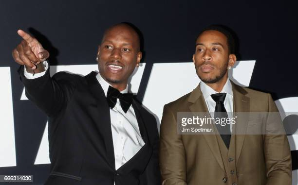 Actors Tyrese Gibson and Ludacris attend 'The Fate Of The Furious' New York premiere at Radio City Music Hall on April 8 2017 in New York City