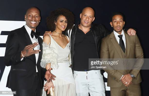 Actors Tyrese Gibson Nathalie Emmanuel Vin Diesel and Ludacris attend 'The Fate Of The Furious' New York premiere at Radio City Music Hall on April 8...