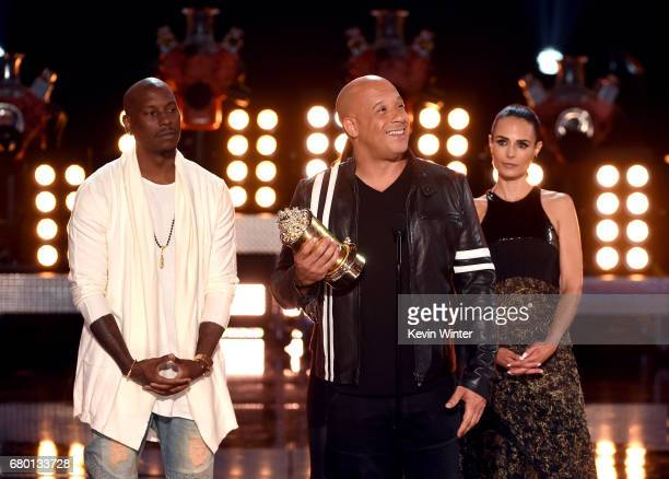 Actors Tyrese Gibson Vin Diesel and Jordana Brewster accept the MTV Generation Award for 'The Fast and the Furious' franchise onstage during the 2017...