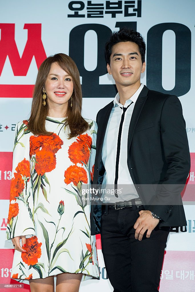 Actors Uhm Jung-Hwa and Song Seung-Heon attend the press conference for 'Miss Wife' at MEGA Box on July 13, 2015 in Seoul, South Korea. The film will open on August 13, in South Korea.