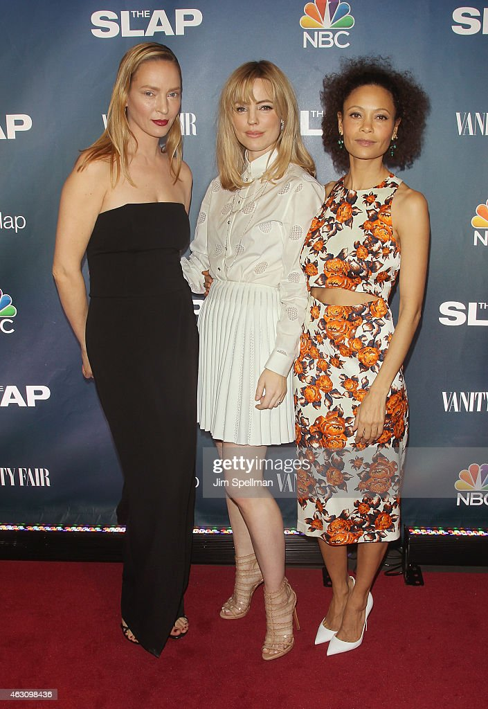 Actors Uma Thurman, Melissa George and Thandie Newton attend 'The Slap' premiere party at The New Museum on February 9, 2015 in New York City.