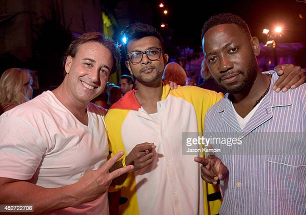 Actors Utkarsh Ambudkar and Lamorne Morris attend the annual Midsummer Night's Dream Party at the Playboy Mansion hosted by Hugh Hefner on August 1...