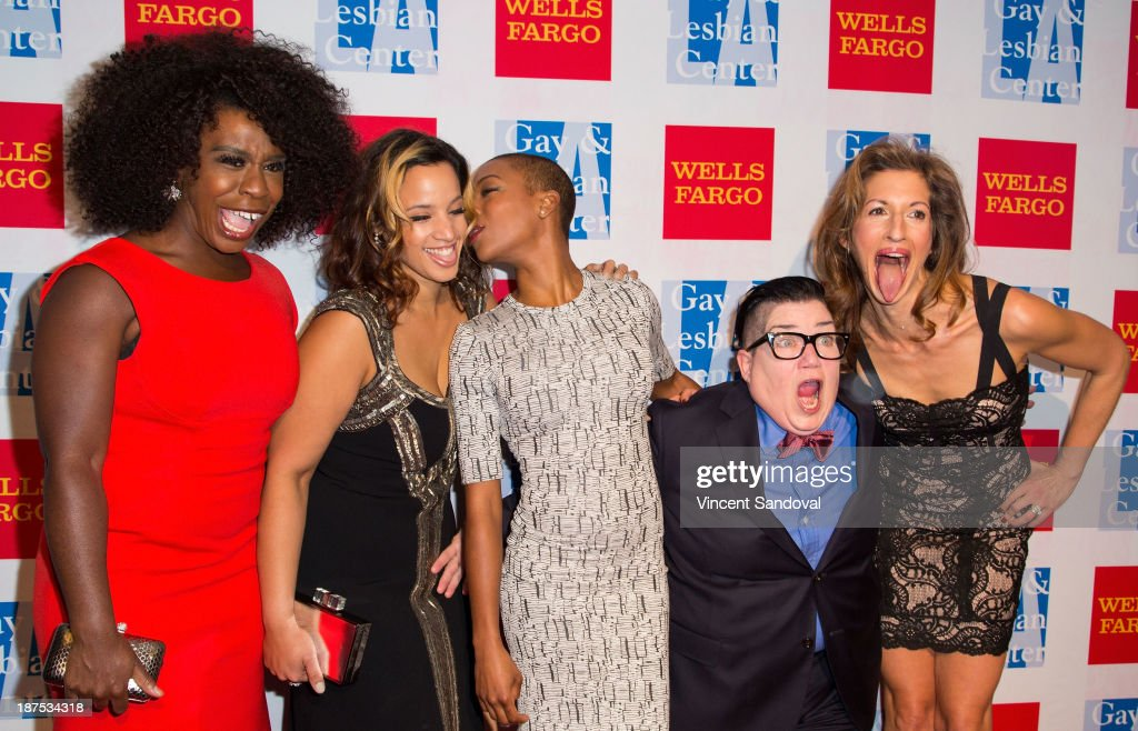 Actors Uzo Aduba, <a gi-track='captionPersonalityLinkClicked' href=/galleries/search?phrase=Dascha+Polanco&family=editorial&specificpeople=11068335 ng-click='$event.stopPropagation()'>Dascha Polanco</a>, <a gi-track='captionPersonalityLinkClicked' href=/galleries/search?phrase=Samira+Wiley&family=editorial&specificpeople=10947919 ng-click='$event.stopPropagation()'>Samira Wiley</a>, Lea DeLaria and <a gi-track='captionPersonalityLinkClicked' href=/galleries/search?phrase=Alysia+Reiner&family=editorial&specificpeople=655685 ng-click='$event.stopPropagation()'>Alysia Reiner</a> attend the L.A. Gay & Lesbian Center's 42nd anniversary Vanguard Awards Gala - Arrivals at Westin Bonaventure Hotel on November 9, 2013 in Los Angeles, California.