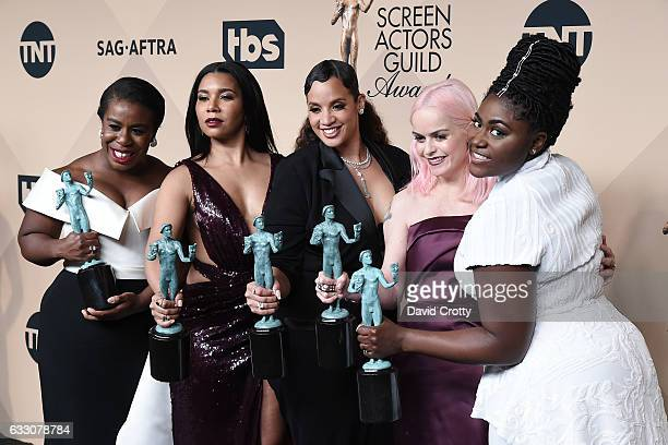 Actors Uzo Aduba Jessica Pimentel Dascha Polanco Taryn Manning and Danielle Brooks corecipients of the Outstanding Performance by an Ensemble in a...