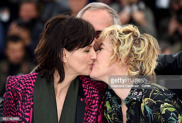 Actors Valeria Bruni Tedeschi Fabrice Luchini and Juliette Binoche attend the 'Slack Bay' Photocall during the 69th annual Cannes Film Festival at...