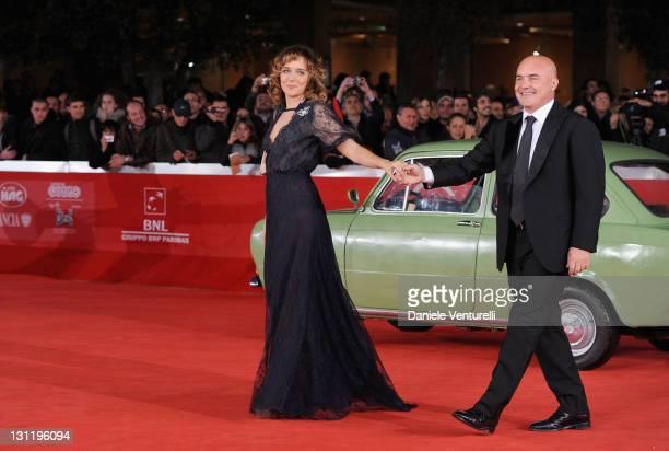 Actors Valeria Golino and Luca Zingaretti attend the 'La Kryptonite Nella Borsa' Premiere during the 6th International Rome Film Festival at...