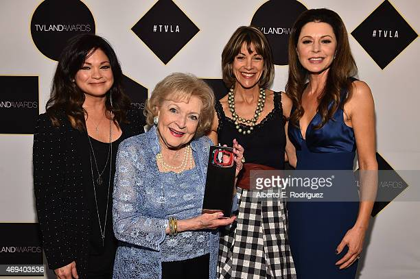Actors Valerie Bertinelli Betty White Wendie Malick and Jane Leeves pose backstage during the 2015 TV Land Awards at Saban Theatre on April 11 2015...