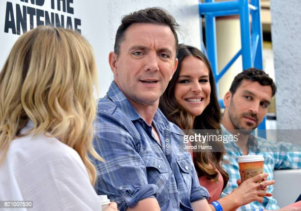 Actors Valorie Curry Peter Serafinowicz Yara Martinez and Scott Speiser at Amazon's 'The Tick' Activation Private Experience during ComicCon...