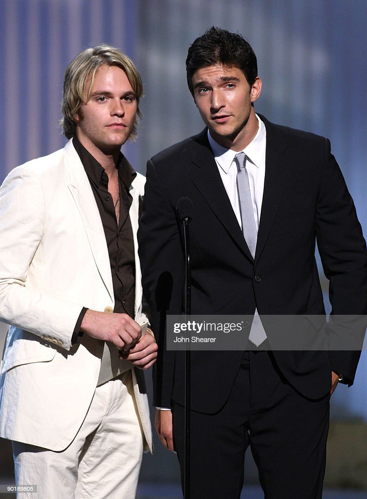 Actors Van Hansis (L) and Jake Silbermann speak onstage during the 36th Annual Daytime Emmy Awards at The Orpheum Theatre on August 30, 2009 in Los Angeles, California.