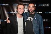 Actors Van Hansis and Matt Risch attends the premiere of Go Team Entertainment's 'EastSiders' season 2 at The Downtown Independent on October 5 2015...