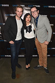 Actors Van Hansis Constance Wu and writer/director Kit Williamson attends the premiere of Go Team Entertainment's 'EastSiders' season 2 at The...
