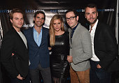 Actors Van Hansis Matthew McKelligon Brianna Brown writer/director Matthew McKelligon and actor John Halbach attend the premiere of Go Team...