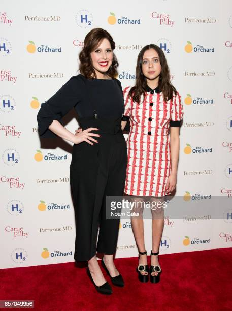 Actors Vanessa Bayer and Bel Powley attend the 'Carrie Pilby' New York screening at Landmark Sunshine Cinema on March 23 2017 in New York City