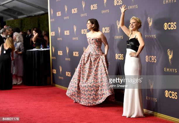 Actors Vanessa Bayer and Kate McKinnon attend the 69th Annual Primetime Emmy Awards at Microsoft Theater on September 17 2017 in Los Angeles...