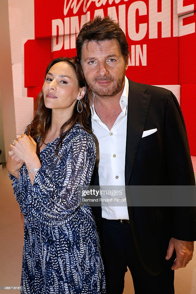 Actors <a gi-track='captionPersonalityLinkClicked' href=/galleries/search?phrase=Vanessa+Demouy&family=editorial&specificpeople=2133051 ng-click='$event.stopPropagation()'>Vanessa Demouy</a> and her husband Philippe Lellouche present the theater play 'L'appel de Londres' at the 'Vivement Dimanche' French TV Show, held at Pavillon Gabriel on May 14, 2014 in Paris, France.