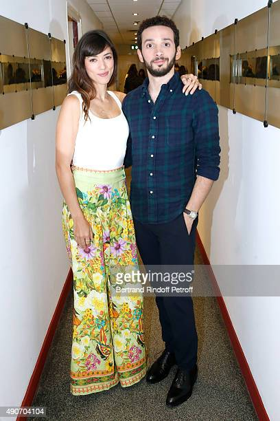 Actors Vanessa Guide and William Lebghil present the Movie 'Les Nouvelles aventures d'Aladin' during the 'Vivement Dimanche' French TV Show at...