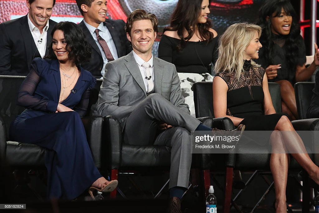 Actors Vanessa Hudgens, Aaron Tveit and Julianne Hough speak onstage during the 'Grease Live!' panel discussion at the FOX portion of the 2015 Winter TCA Tour at the Langham Huntington Hotel on January 15, 2016 in Pasadena, California