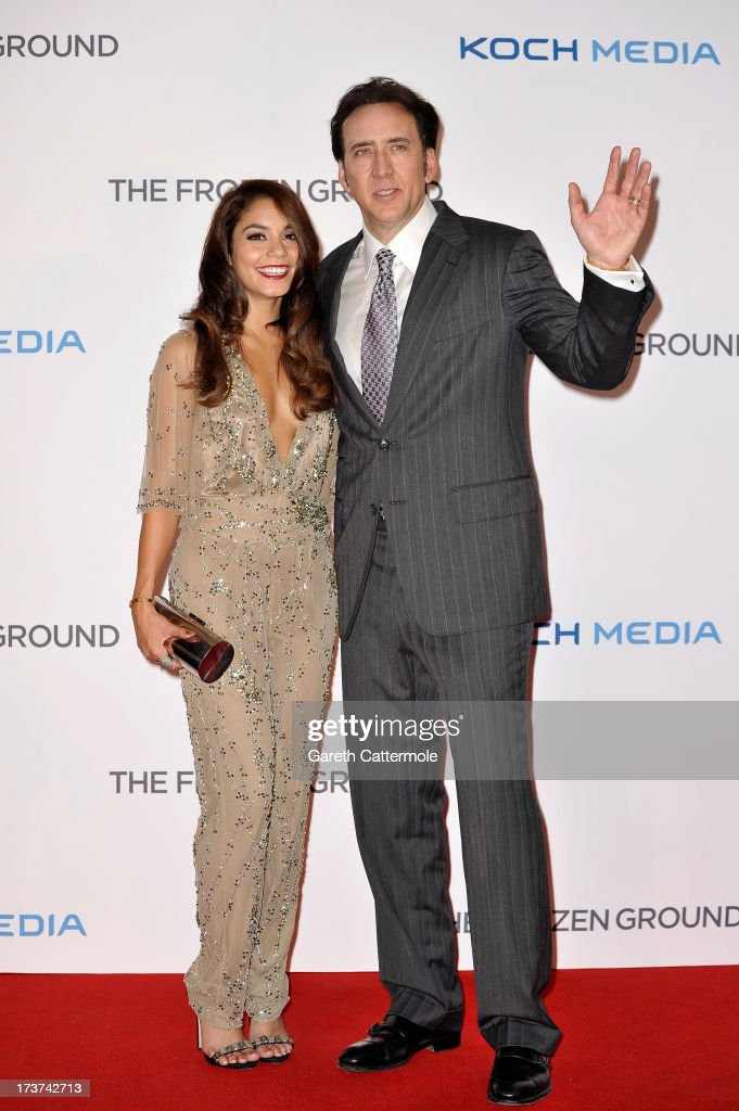 Actors Vanessa Hudgens and <a gi-track='captionPersonalityLinkClicked' href=/galleries/search?phrase=Nicolas+Cage&family=editorial&specificpeople=196531 ng-click='$event.stopPropagation()'>Nicolas Cage</a> attend the UK Premiere of 'The Frozen Ground' at Vue West End on July 17, 2013 in London, England.