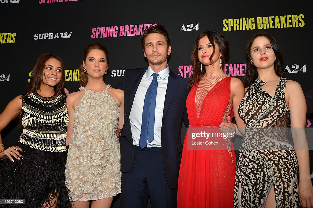 Actors Vanessa Hudgens, Ashley Benson, James Franco, Selena Gomez, and Rachel Korine attend the 'Spring Breakers' Los Angeles Premiere at ArcLight Hollywood on March 14, 2013 in Hollywood, California.