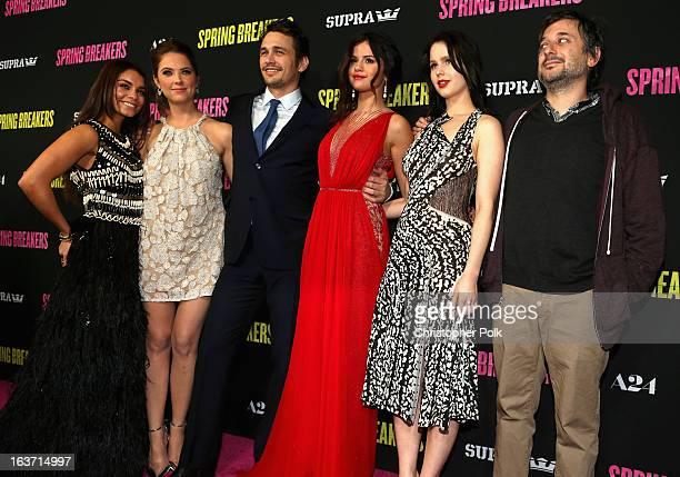 Actors Vanessa Hudgens Ashley Benson James Franco Selena Gomez Rachel Korine and writer/director Harmony Korine attend the 'Spring Breakers' premiere...