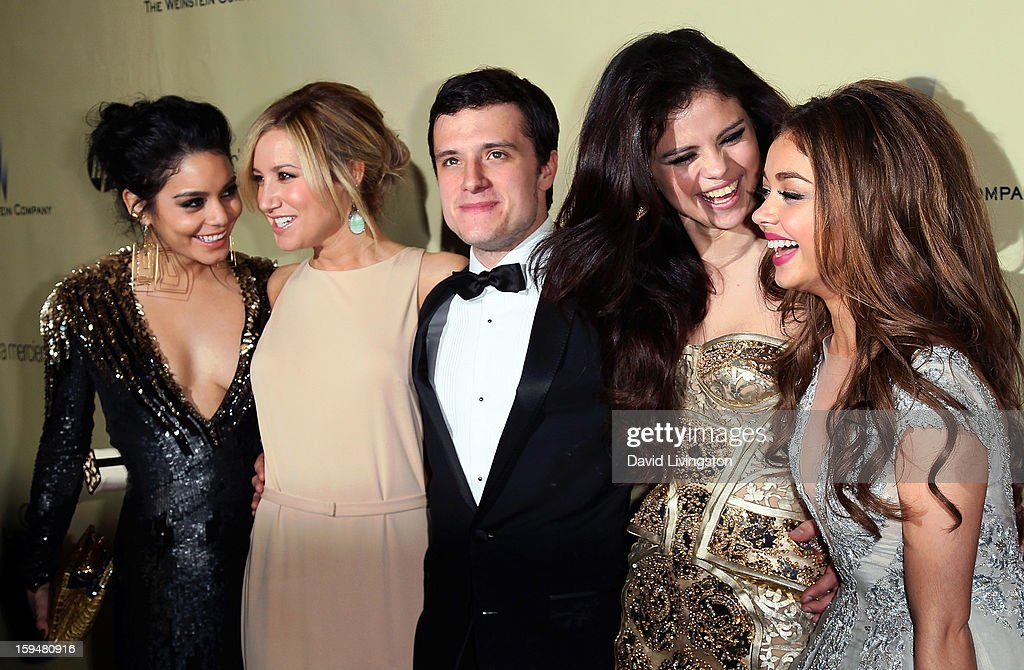 Actors Vanessa Hudgens, Ashley Tisdale, Josh Hutcherson, Selena Gomez and Sarah Hyland attend The Weinstein Company's 2013 Golden Globe Awards After Party at The Beverly Hilton hotel on January 13, 2013 in Beverly Hills, California.