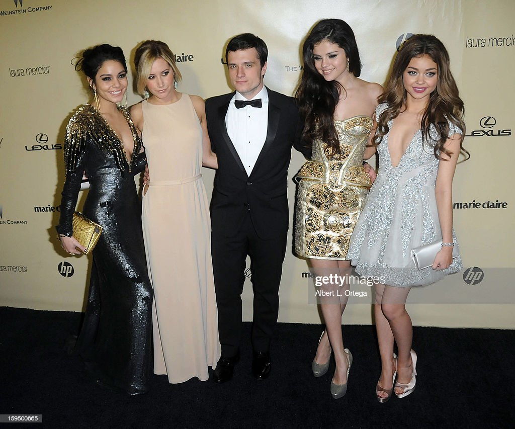 Actors Vanessa Hudgens; Ashley Tisdale; Josh Hutcherson; Selena Gomez and Sarah Hyland arrive for the Weinstein Company's 2013 Golden Globe Awards After Party - Arrivals on January 13, 2013 in Beverly Hills, California.