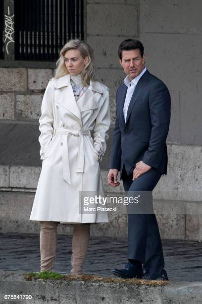 Actors Vanessa Kirby and Tom Cruise are seen on the set of 'MissionImpossible 6 Gemini' on May 2 2017 in Paris France