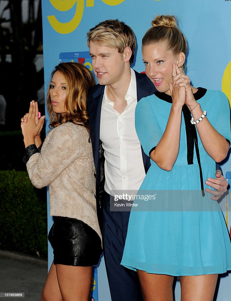 Actors Vanessa Lengies, Chord Overstreet and Heather Morris arrive at the premiere of Fox Television's 'Glee' at Paramount Studios on September 12, 2012 in Los Angeles, California.
