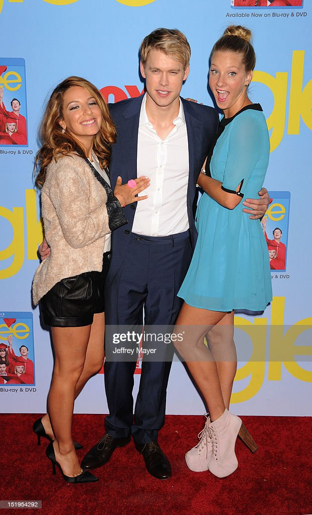Actors Vanessa Lengies, Chord Overstreet and Heather Morris arrives at the 'GLEE' Premiere Screening And Reception at Paramount Studios on September 12, 2012 in Hollywood, California.