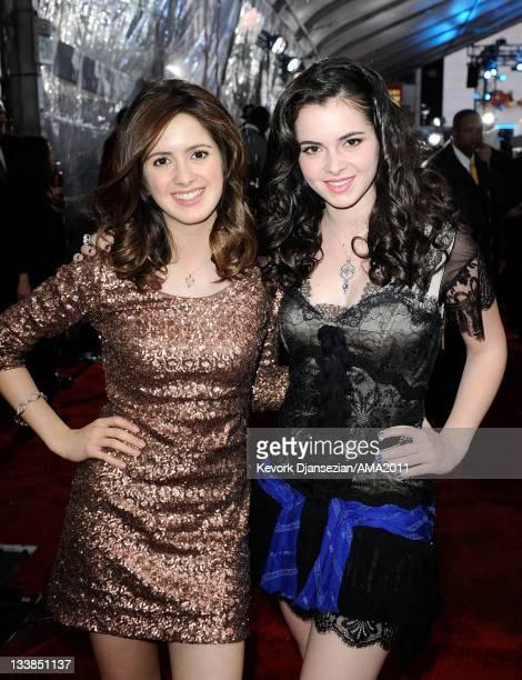 Actors Vanessa Marano and Laura Marano arrive at the 2011 American Music Awards held at Nokia Theatre LA LIVE on November 20 2011 in Los Angeles...