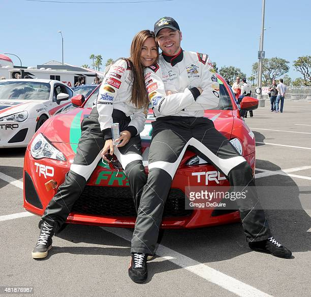 Actors Vanessa Marcil and Brett Davern arrive at press day for the 2014 Toyota Pro/Celebrity Race on April 1 2014 in Long Beach California