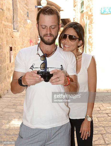 Actors Vanessa Marcil and Carmine Giovinazzo visit Jaffa's old city on May 31 2012 in Tel Aviv Israel