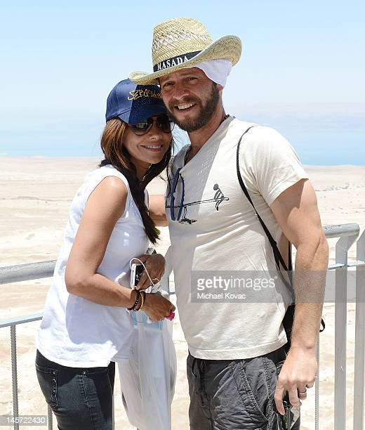Actors Vanessa Marcil and Carmine Giovinazzo visit Masada on June 3 2012 in Masada Israel