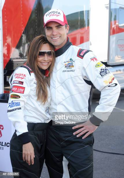 Actors Vanessa Marcil and Colin Egglesfield arrive at press day for the 2014 Toyota Pro/Celebrity Race on April 1 2014 in Long Beach California