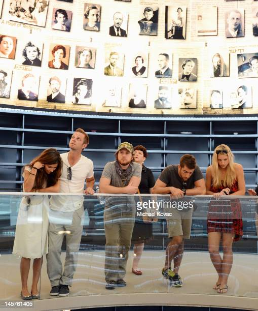 Actors Vanessa Marcil Carmine Giovinazzo AJ Buckley and Jonathan Togo visit the Hall of Remembrance at The Yad Vashem Museum on June 5 2012 in...