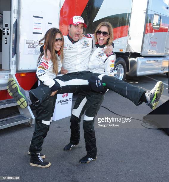 Actors Vanessa Marcil Colin Egglesfield and Tricia Helfer arrive at press day for the 2014 Toyota Pro/Celebrity Race on April 1 2014 in Long Beach...