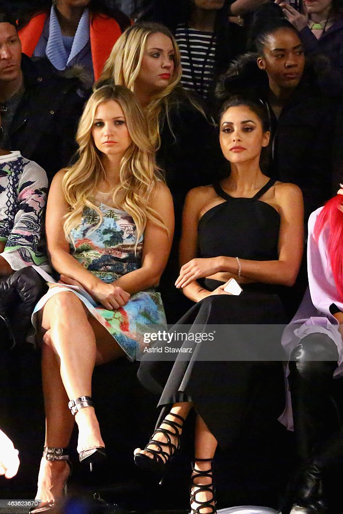 Actors Vanessa Ray and Lindsey Morgan attend the Vivienne Tam fashion show during MercedesBenz Fashion Week Fall 2015 at The Theatre at Lincoln...
