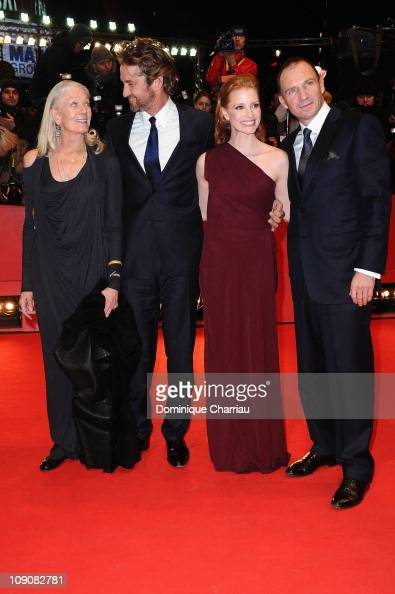 Actors Vanessa Redgrave Gerard Butler Jessica Chastain and Ralph Fiennes attend the 'Coriolanus' Premiere during day five of the 61st Berlin...